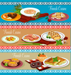 Finnish cuisine restaurant banner with seafood vector