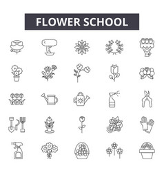 flower school line icons signs set vector image