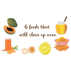 Foods to clear up acne vector