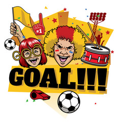 football fans design cheerful celebrating goal vector image