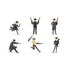 Gangsters with weapons in their hands vector