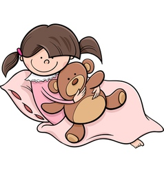 girl with teddy cartoon vector image