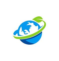 Globe earth green leaf logo vector