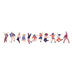 Group happy people jumping on a white vector