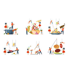 happy family cooking together set vector image