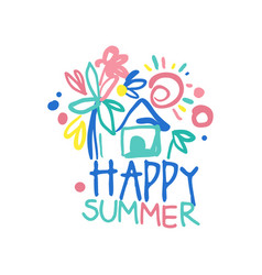 Happy summer logo label for summer holiday vector