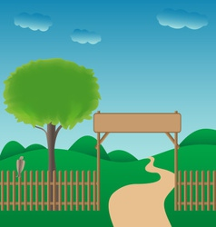Ilustrated gateway to the countryside vector image