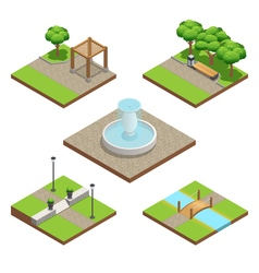Isometric landscaping composition vector