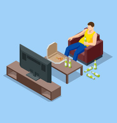 Isometric man sits on couch eats pizza vector