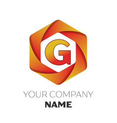 Letter g logo symbol on colorful hexagonal vector