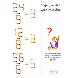 Logic puzzle game with matches in each task move vector
