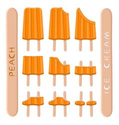 Logo for natural peach ice cream vector