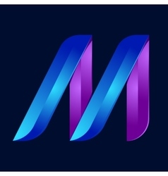 M letter volume blue and purple color logo design vector