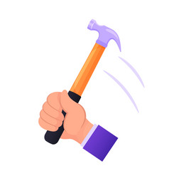 male hand holding hammer hitting nail handyman vector image