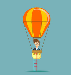 Man man in air balloon vector
