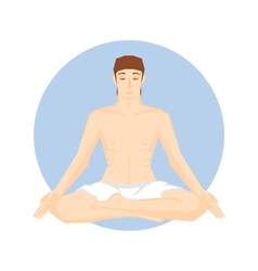 Man sitting in the yoga pose vector image