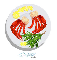 Meat crab with rosemary and lemon on the plate vector