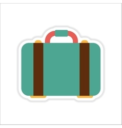 Paper sticker on white background suitcase bag vector