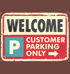 parking sign design in retro style vector image
