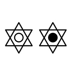 Pentagram line and glyph icon six pointed star vector