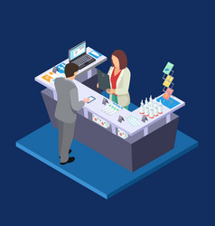 pharmacy isometric concept with first aid vector image