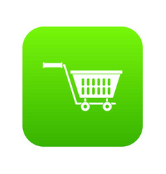 plastic shopping trolley icon digital green vector image