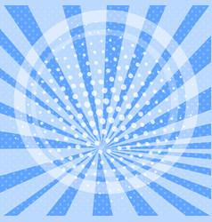 pop art background cartoon sun rays blue circle vector image