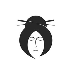 portrait a geisha logo monochrome emblem print vector image