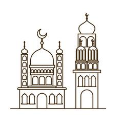 Ramadan kareem mosque building icon vector