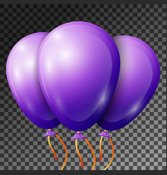 Realistic purple or violet balloons with ribbons vector