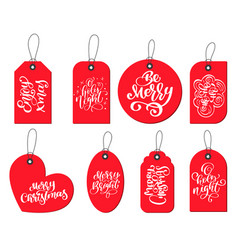 Red labels tags collection with calligraphy vector