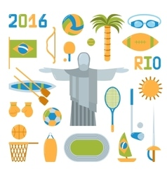 Rio summer olympic games icons vector image