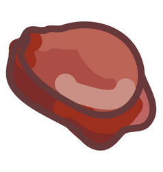 round meat on white background vector image