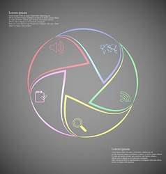 Rounded infographic consists of five parts on dark vector