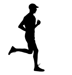 Running black silhouettes vector image