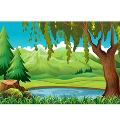 Scene with mountains and pond vector