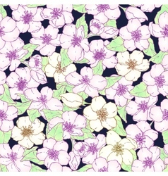 Seamless pattern with cherry blossom flowers vector