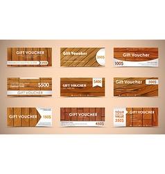 set of wooden gift vouchers vector image