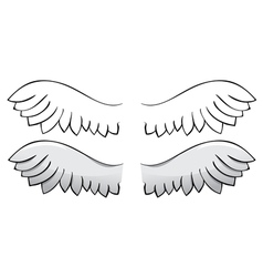 Set Wings Black outline and painted vector