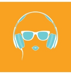 silhouette of colored girl with headphones vector image