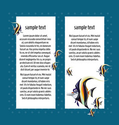 Sketch card with space for text and fish zanclus vector