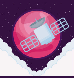 space satellite with planet earth and clouds vector image