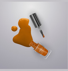 spilled some nail polishes on light background vector image