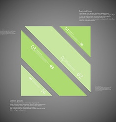Square template consists of four green parts on vector