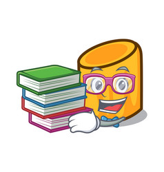 Student with book rigatoni mascot cartoon style vector