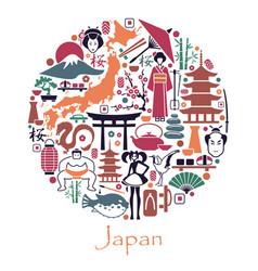 Symbols japan in form a circle vector
