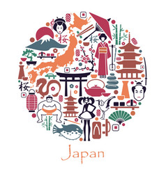 Symbols of japan in the form of a circle vector