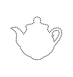 tea maker sign black dashed icon on white vector image