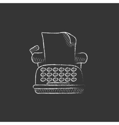 Typewriter drawn in chalk icon vector