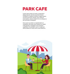 vertical brochure design for park cafe couple is vector image